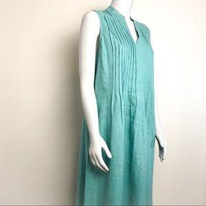 J. Jill Dresses - J. JILL 100% Linen Pleated-Front Sleeveless Dress